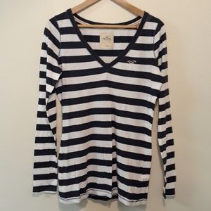 Hollister New Long Sleeve Navy White Strip Tee